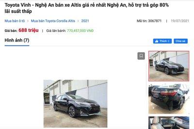 Giá bán thực tế của Toyota Corolla Altis tại đại lý chỉ từ 688 triệu đồng.