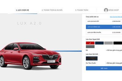 Giao diện đặt xe online của VinFast.
