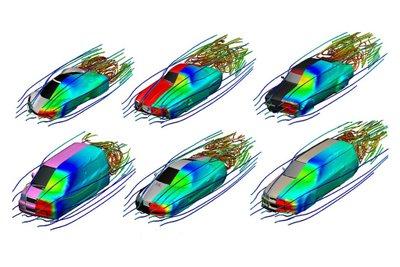 Mô phỏng luồng không khí nhiễu động khi xe chạy.