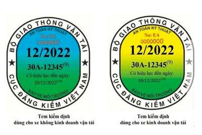 Mẫu tem kiểm định mới được tách riêng cho xe không kinh doanh vận tải và xe có kinh doanh vận tải